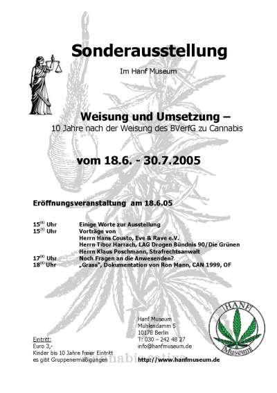 Plakat der Sonderausstellung 10 Jahre BVferG Urteil Recht auf Rausch - Weisung und Umsetzung