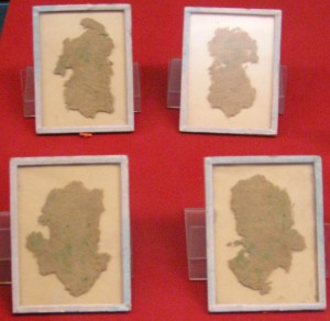 Early Chinese hemp fiber paper, used for wrapping not writing, on display at the Shaanxi history museum in Xi'An, China. Excavated from the Han Tomb of Wu Di (140-87 BC) at Baqiao, Xi'An. Photo by Yannick Trottier, 2007