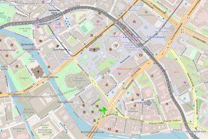 Hanfmuseum und Umgebungskarte